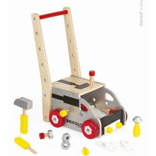 Bricolo Truck & Trolley | Toronto Baby Store: balafant boutik  Take your tools with you and build on the go! The Janod Bricolo Truck & Trolley comes complete with 24 accessories including 3 magnetic tools, a screwdriver, hammer and spanner that attach to the vehicle and a little driver to help you navigate to your next job. Ages 1-4