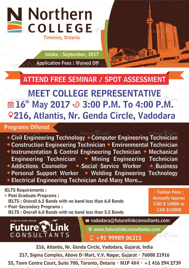 Attend Free Seminar And Spot Assessment Of #NorthernCollege, #Canada At  Future Link Consultants #Vadodara. #Date: 16th May 2017 #Time: 03:00 P.M.  To 04:00 ...