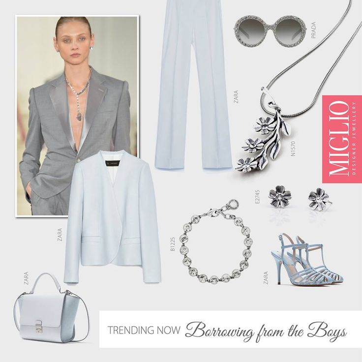 #migliostyle Borrowing from the Boys! The suit is a hit and not always reserved for our male counterparts. Keep the look clean with a nude make-up palette and add a feminine touch with delicate #jewellery