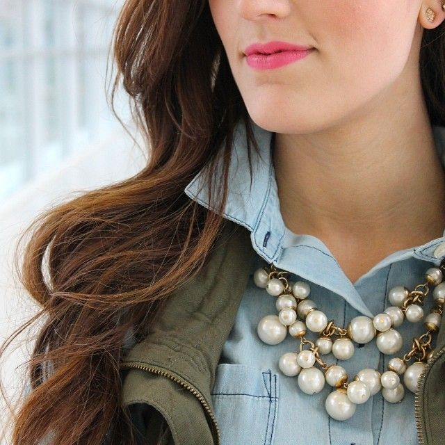The NEW updated pearl!  The Daphne Necklace - pairs beautifully with casual top, cropped jacket, and jeans!  get it here:  www.stelladot.com/melissawagner