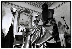 FRANCE. Paris. 1999. VALENTINO prepares a model for his Haute Couture Fall/Winter showat Place Vendome, Valentino's studio. Photo by Bruce Davidson