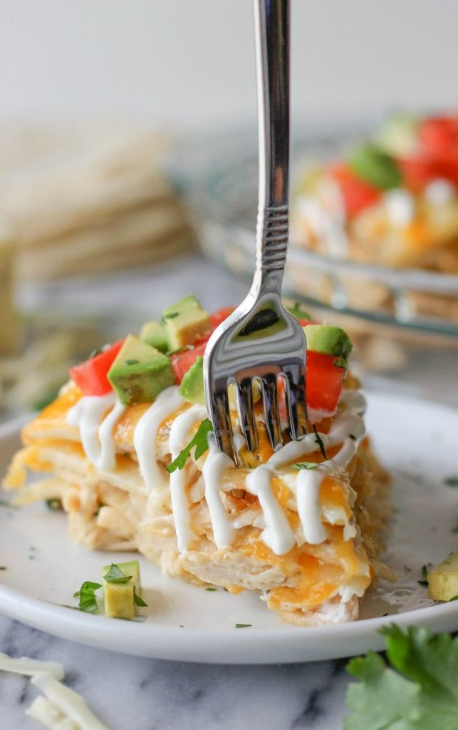 Chicken Tortilla Stack - These cheesy stacks of tortilla comes together so easily, making it perfect for a busy weeknight meal!