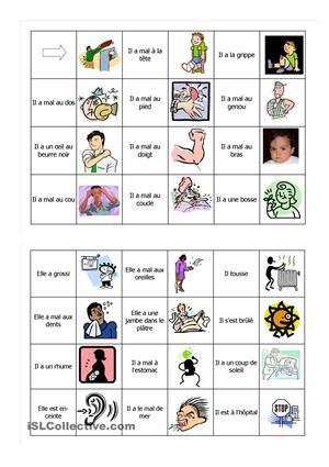 Domino pour mémoriser les expressions pour j'ai mal à + lexique du corps. - Fiches FLE