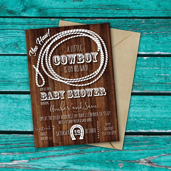 Cowboy Baby Shower Invitation | Cowgirl Baby Shower | Western Baby Shower Invite | Rustic Baby Shower | Country Western | Little Cowboy   This listing is for a PRINTABLE one-sided Baby Shower invitation for you to print at home or print through a print shop.  This card comes as 4x6 or 5x7. *Let me know if you want a color add (pink for a girl, blue, red etc). I can add color at no additional charge.  Cowgirl Version: https://www.etsy.com/listing/544441431/cowgirl-baby...