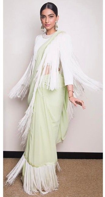 Yay or Nay? Sonam Kapoor in this mint fringe saree