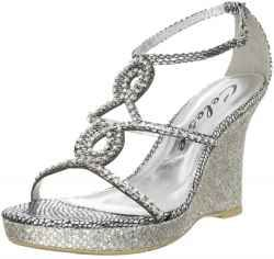 Silver Wedge Sandals-April do you like sandals for bridesmaid dresses or wedge pump?