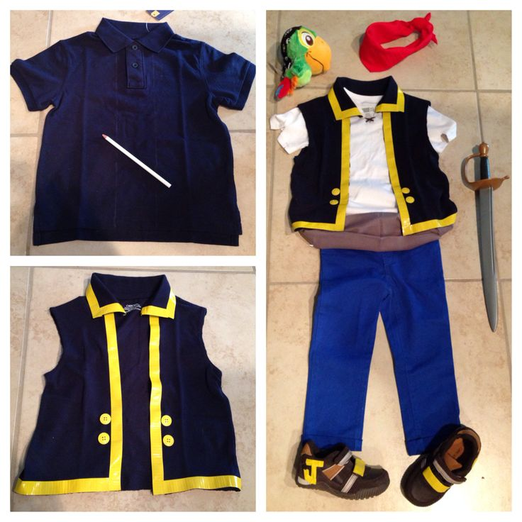 Make your own inexpensive Jake and the neverland pirates costume for a toddler.
