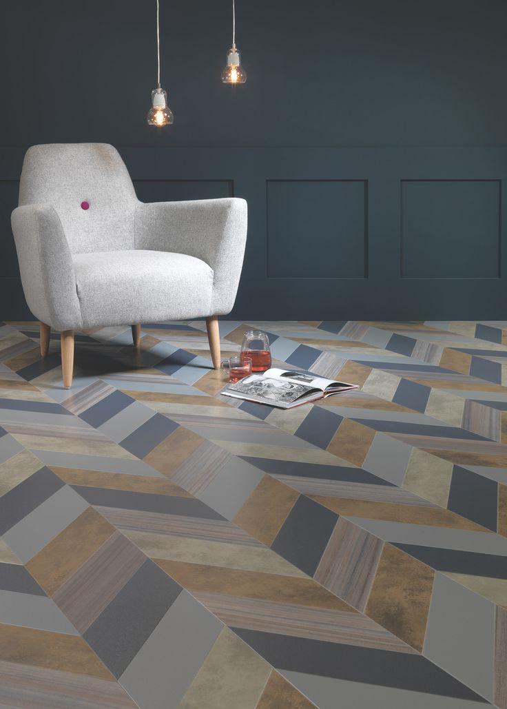 Shimmer Denim, Shimmer Metal, Patina Vapour, Patina Lune, Equator Wave in Herringbone Pleat. #amtico #flooring #herringbone #contemporary http://www.amtico.com