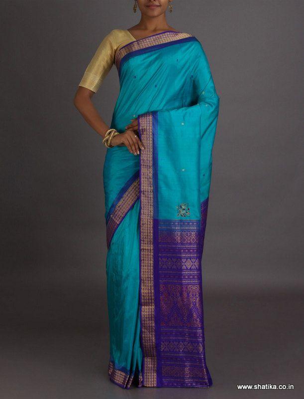 Supraja Light And Dark Blue Intricate #SambalpuriSilkSaree