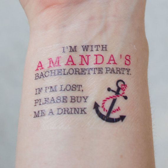 Anchor Bachelorette Tattoos Bachelorette Party Temporary Tattoos If lost, buy me a drink Nautical Tattoo Pack of 10 on Etsy, $20.00