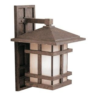 KICHLER - KICHLER 9131AGZ Cross Creek Arts and Crafts/Mission Outdoor Wall Sconce - With rustic charm as unique as its design, The Cross Cre...