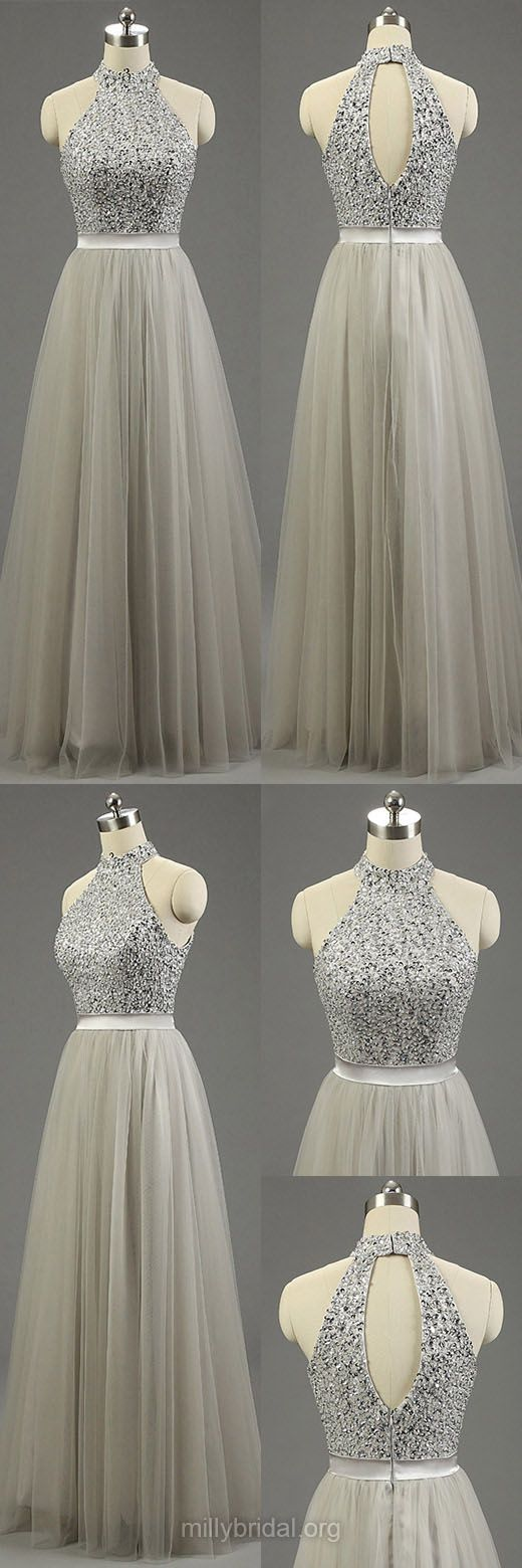 Silver Formal Dresses, Long Prom Dresses, High Neck Gray Party Gowns, Fashion Tulle Beading Prom Dresses