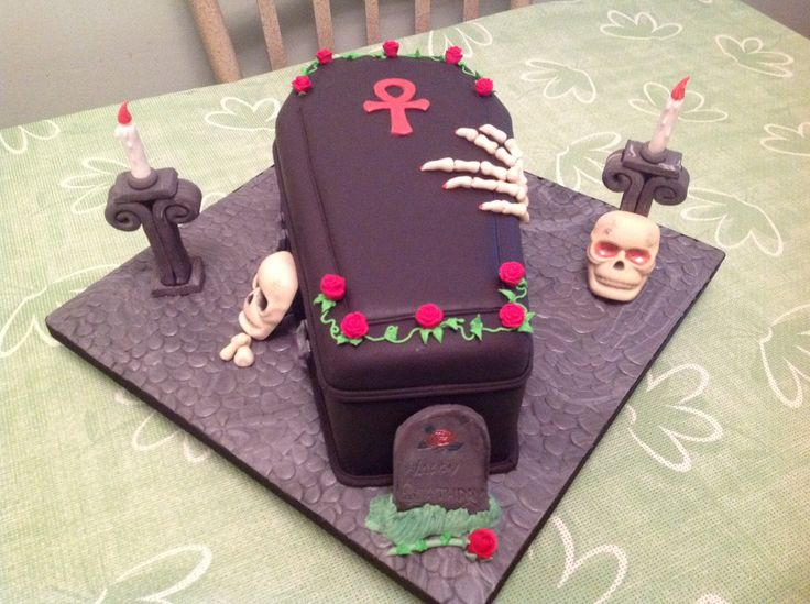 Coffin birthday cake