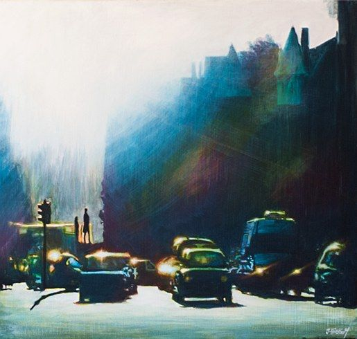 Joby Hickey Evening Drive. #JobyHickey #art #artist #irishartist #dublin dublinstreets #irishart #painting #dublin #photorealism #edwardhopper #jobyhickey #dukestreetgallery #lensflare #triitycollege #trinity