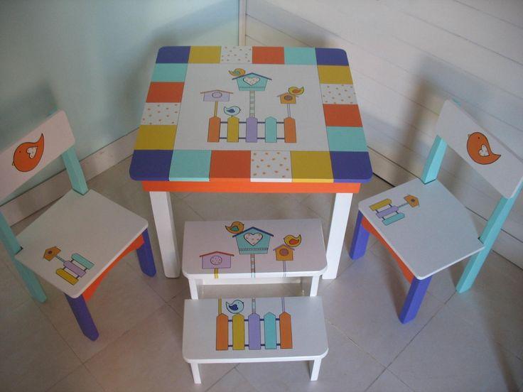 Mesitas Infantiles Pintadas A Mano Para Nenas - $ 1.270,00 en MercadoLibre