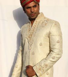 Buy cream plain lurex embroidered sherwani sherwani online