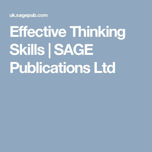 Effective Thinking Skills | SAGE Publications Ltd