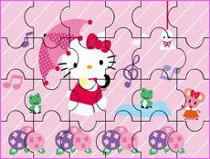JuegosKitty.com - Juego: Puzzle Paraguas de Hello Kitty - Juegos Gratis Infantiles