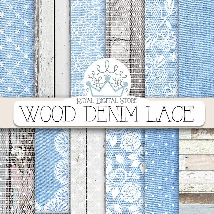 "Denim Digital Paper: "" Wood Denim Lace"" with wood, lace, blue jeans, denim backgrounds, denim scrapbook paper for invitations, cards #wedding #shabbychic #digitalpaper #denim #lace #blue #planner #partysupplies #scrapbookpaper #woodtexture #distressedwood #romantic"