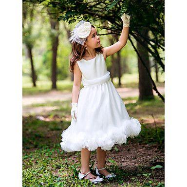 princess fyrkantig te-längd silke blomma flicka klänning med band och volanger – SEK Kr. 414