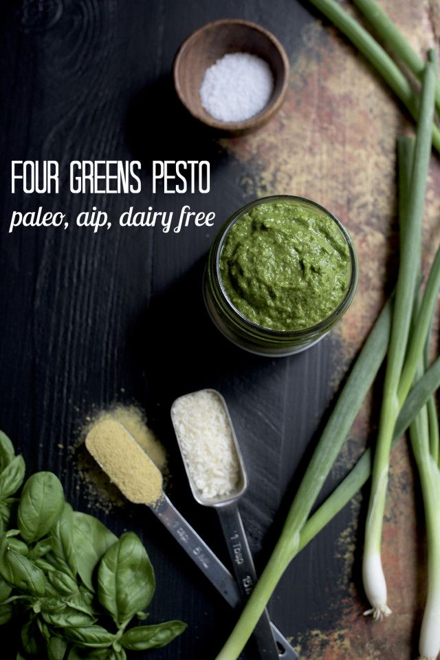 Four Greens AIP Pesto from http://meatified.com - paleo, Whole30 & dairy free