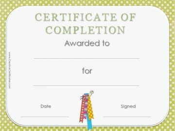 free printable certificate of completion