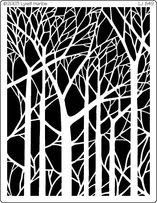 bare trees stencil