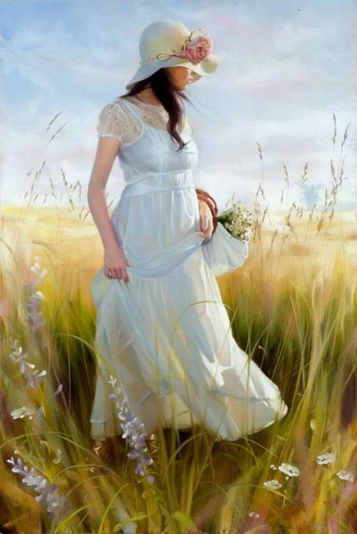 Картинки художников девушки на весеннем фоне со спины