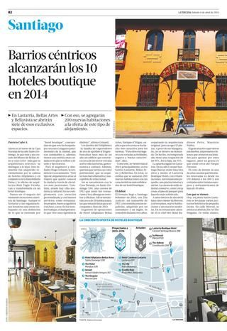 En Santiago de Chile el Año 2014: Barrios Céntricos Alcanzarán 10 Hoteles Boutique | La Tercera - Abril 6, 2013