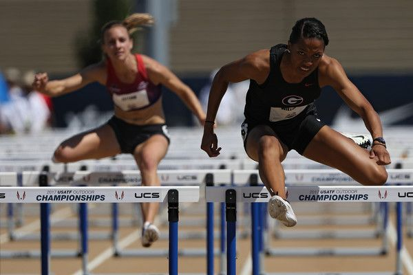 Kendell Williams runs in the Women's Heptathlon 100m Hurdles during Day 3 of the 2017 USA Track & Field Outdoor Championships at Hornet Stadium on June 24, 2017 in Sacramento, California.