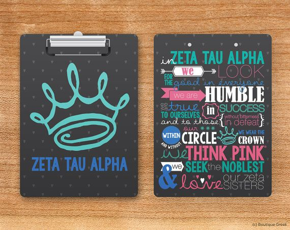 ZTA Zeta TAu Alpha In Zeta We Sorority Personalized Clipboard on Etsy, $29.50