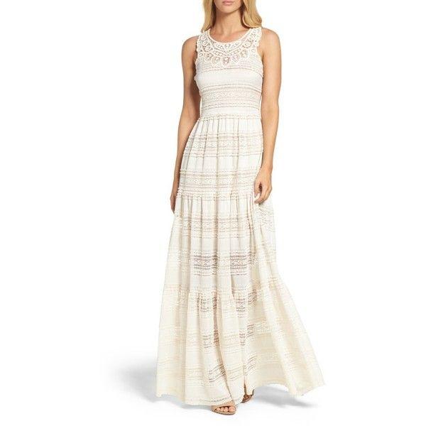 Women's Eliza J Maxi Dress ($148) ❤ liked on Polyvore featuring dresses, ivory, petite, maxi dresses, ivory lace dress, summer maxi dresses, ivory maxi dress and white summer dress
