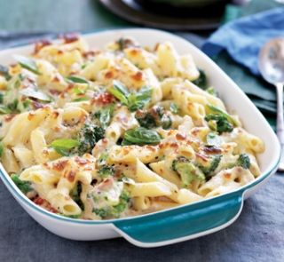 IDEA: Creamy tuna and broccoli pasta bake -- cooked pasta, tuna, broccoli, spices/more veg in baking dish with cauliflower alfredo sauce & nutritional yeast/spices on top