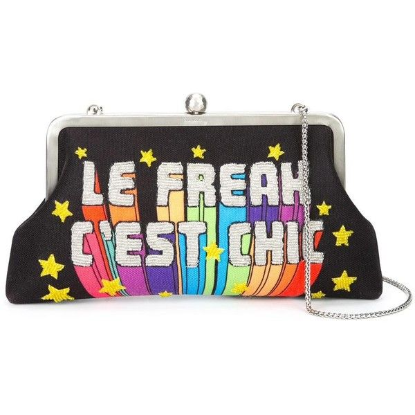 Sarah's Bag 'Le Freak C'est Chic' embellished clutch (£365) ❤ liked on Polyvore featuring bags, handbags, clutches, black, embellished handbags and embellished purses