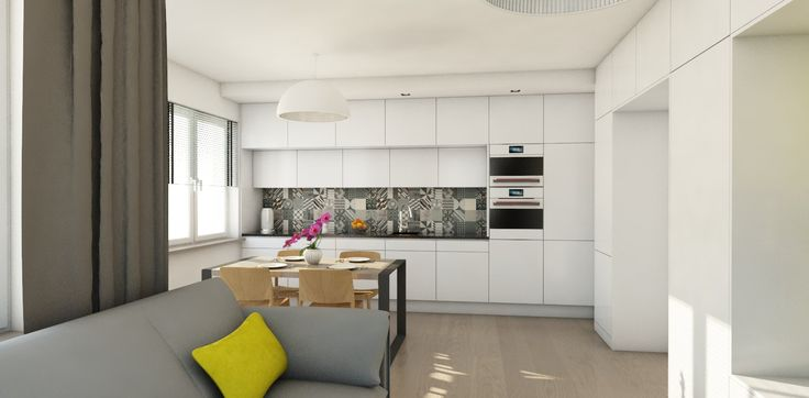 Kuchnia połączona z salonem. Minimalistyczna zabudowa meblowa sprawia, że kuchnia jest elegancka i nie zaburza przestrzeni salonu. Takie rozwiązanie pozwala cieszyć się wspólnym gotowaniem. Stół stanowi część wspólną salonu i kuchni. Połączenie bieli z drewnem i dużą ilością tkanin sprawia, że pomieszczenie jest przytulne, mimo powściągliwości formy.