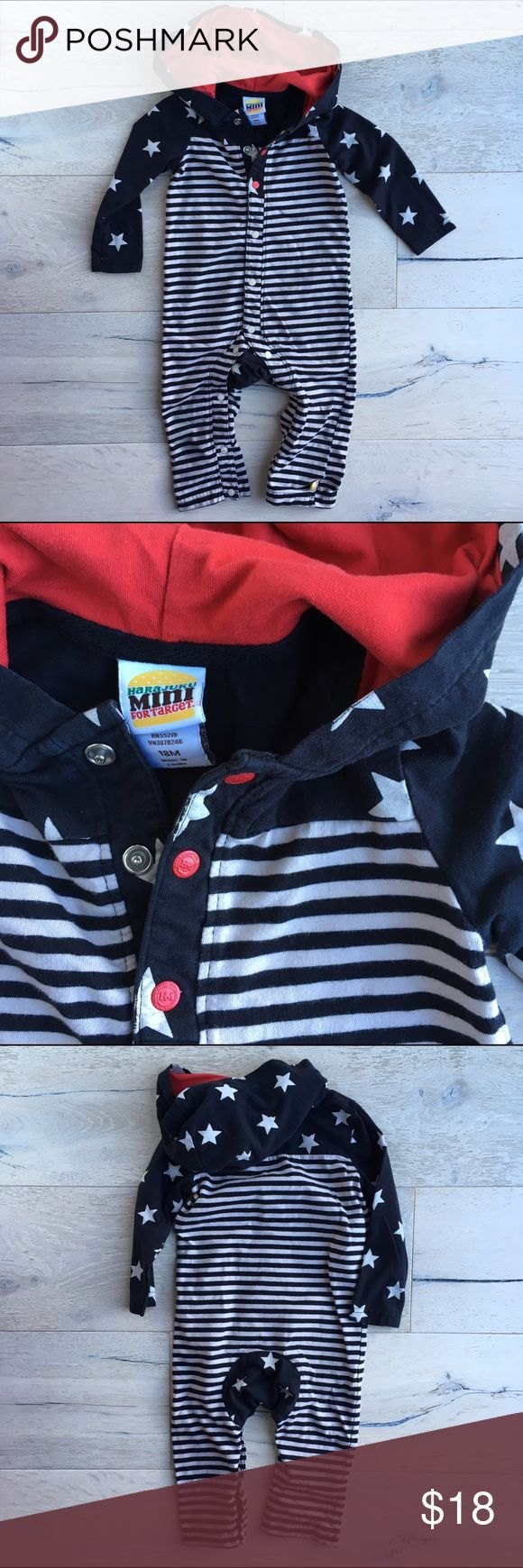 Harajuku Mini Romper with Hoodie, by Gwen Stefani Harajuku Mini Romper with Hoodie, rare item designed by Gwen Stefani. Size 18 months.  Rockabilly styling with stripes and stars in red, black and a very light cream.  Snaps up from inside legs to chin.  Comes from a smoke free, pet free home.  Gently used and in great condition. Harajuku Mini One Pieces Bodysuits