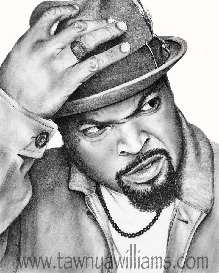 Ice Cube Drawing. Ice Cube Print. Ice Cube Art. Gangsta Rap. NWA Art. Ice Cube Portrait. Graphite Portrait. Black and White Ice Cube. by TawnyaWilliamsArt on Etsy