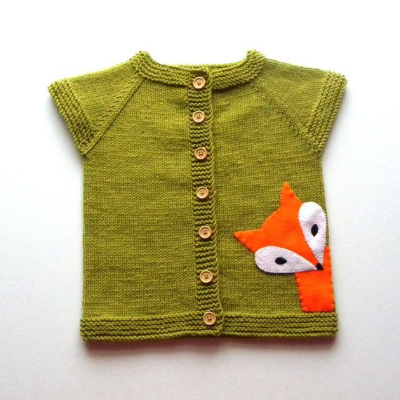 Knit kids fox vest moss green vest green wool baby vest by Tuttolv, $30.00