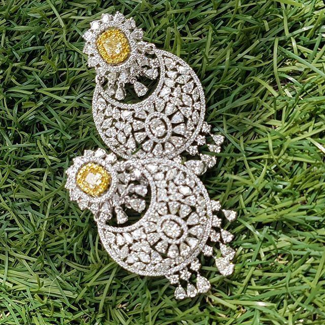 Stunning Earrings to Match Your Outfit this Weekend! #diamonds #yellowdiamond #oval #pear #marquis #earrings #jumkas #traditonal #quality #pure #classy #mumbai #dehli #dubai #kuwait #london #newyork #newcollections #hughesroad