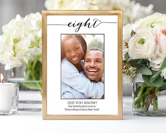 1 10 Fun Facts Wedding Photo Table Numbers Table Numbers Etsy Wedding Photo Table Photo Table Numbers Wedding Templates Printable