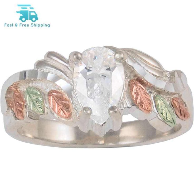 Black Hills Gold Jewelry by Coleman Co. Pear-Shaped CZ 10kt and 12kt Black Hills. A sparkling pear-shaped CZ is hugged by shining vines of sterling silver fringed with 12kt pink and green leaves to create this eye-catching Black Hills Gold ring.   eBay!