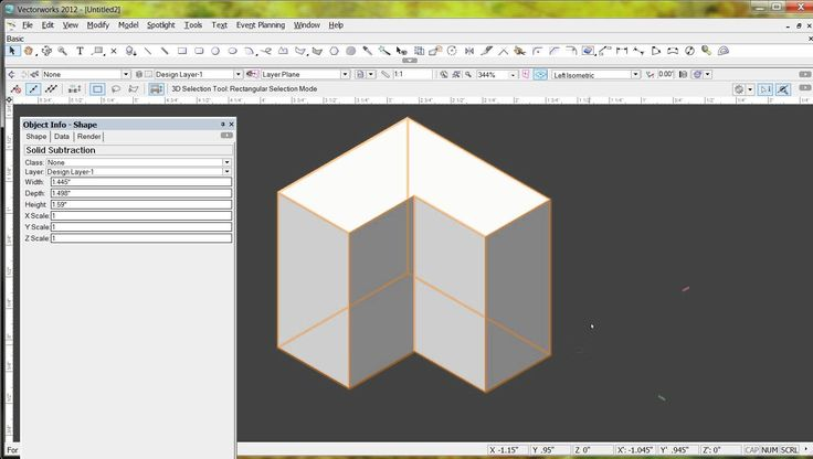 VectorWorks Push Pull Solid Subtract