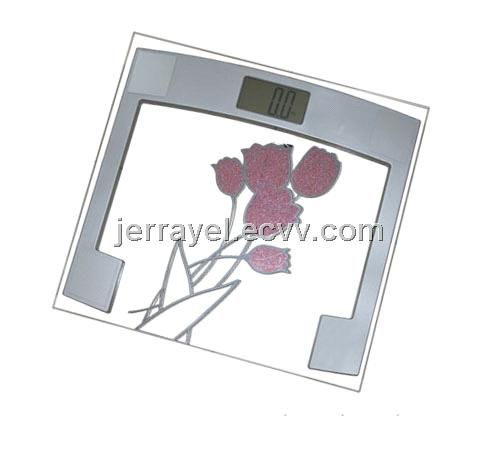 electric glass square Bathroom Scale with flower - Hong Kong electronic scale