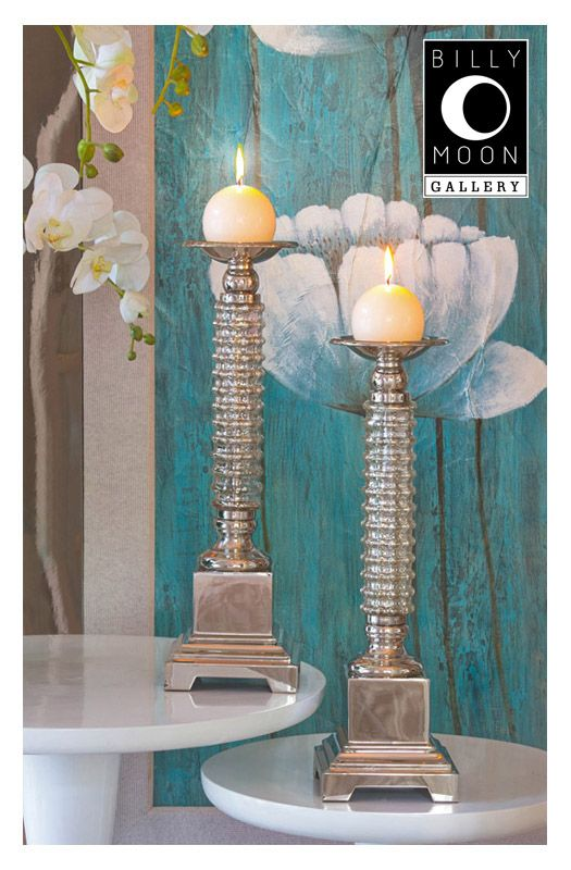 Candleholder  Ribbed glass. Nickel plated steel components.  C0032
