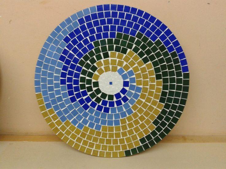 mesa giratória em mosaico 70 cm pastilhas de vidro