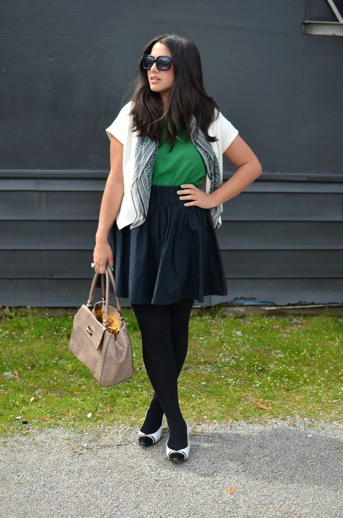 Blouse, TopShop Skirt, H&M Scarf, Club Monaco Vest, Forever 21 Shoes, Value Village Purse, Kate Spade Ring, Social Experiment c/o Tights, Pink Beryl Manicure, Pure Nail Bar