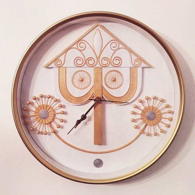 For those who don't know-my love for the It's A Small World ride runs really deep. My incredibly talented boyfriend, @obijuan23 surprised me with this perfect, beautifully crafted Small World wall clock. He 3d modeled it in Maya, 3d printed it, pieced different clock parts together and hand painted everything with gold, silver & white acrylic paint. The attention to detail is mind blowing.