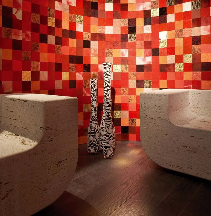 Leather mosaic tiles by Studioart. #architecture #design