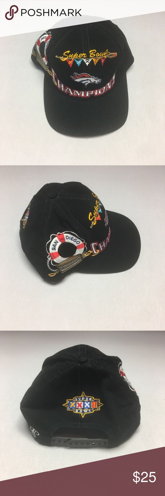 Vintage Denver Broncos Super Bowl XXXII CHAMPS Hat Cool gently worn Vintage Denver Broncos Super Bowl XXXII Champs Snapback Hat. Hat is in excellent condition. All of the cool graphics on this hat are embroidered. Vintage Accessories Hats