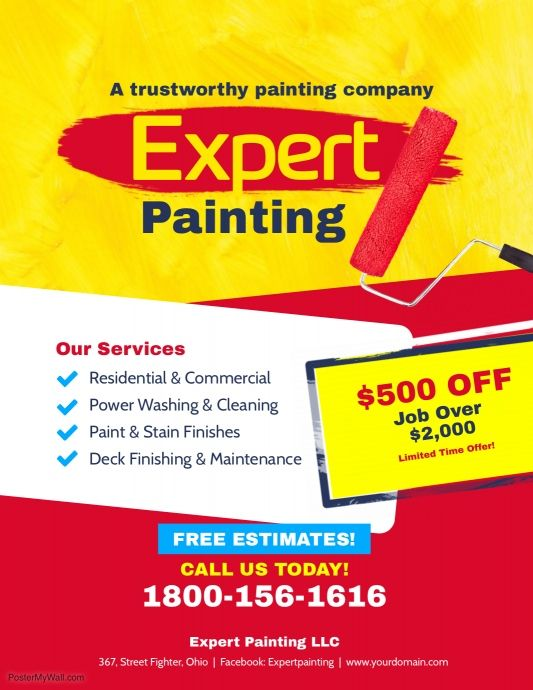 expert painting services flyer poster template